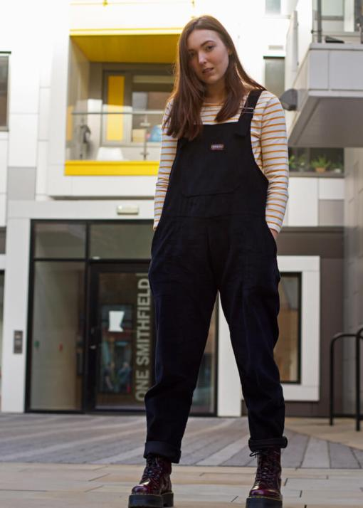 Run & Fly - Unisex Corduroy Dungarees in Black