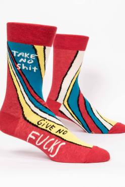 Blue Q - Take No Shit, Give No Fucks Men's Crew Socks