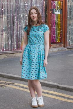 Run & Fly - Turquoise Checked Dinosaur Dress