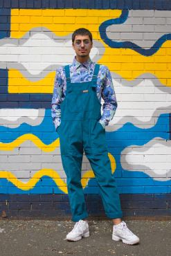 Run & Fly - Unisex Corduroy Dungarees in Ink Blue