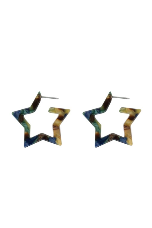 Big Metal London - Megan Resin Star Hoop Earrings