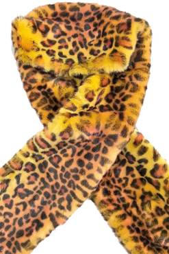 Thunder Egg - Yellow Faux Fur Leopard Scarf