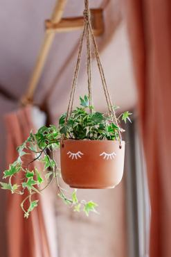 Sass & Belle - Terracotta Eyes Shut Hanging Planter