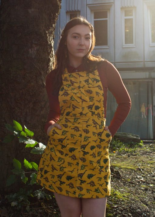 Run & Fly - Dinosaur Corduroy Pinafore in Gold