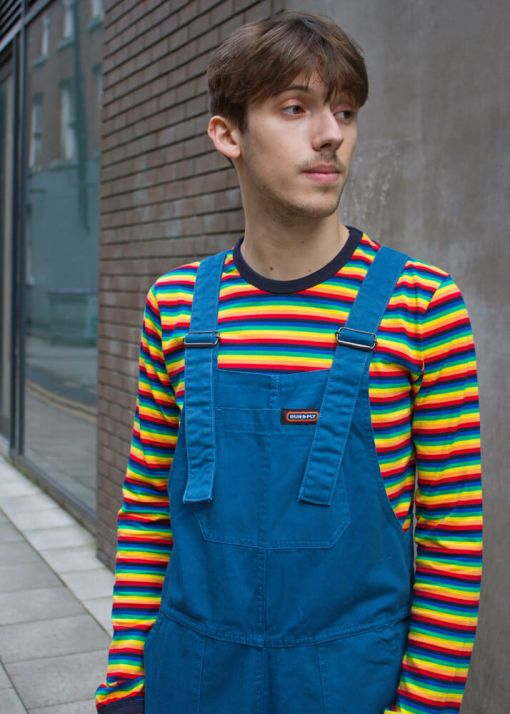 Run & Fly - Unisex Twill Oversized Dungarees in Cobalt
