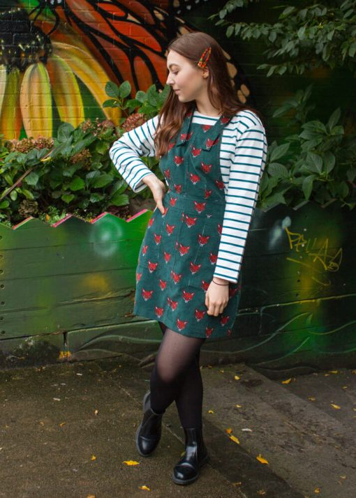 Run & Fly - Corduroy Fox Head Pinafore