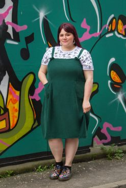 Thunder Egg - Green Oversized Corduroy Pinafore Dress