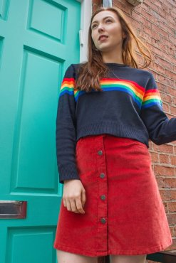 Run & Fly - Navy Rainbow Cropped Jumper