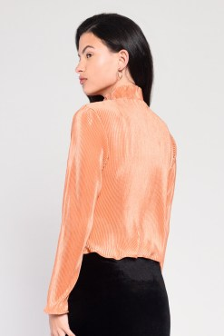 Glamorous - Dusty Orange Plissé High Neck Top