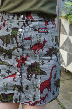Run & Fly - Dusky Blue Dinosaur Corduroy Skirt