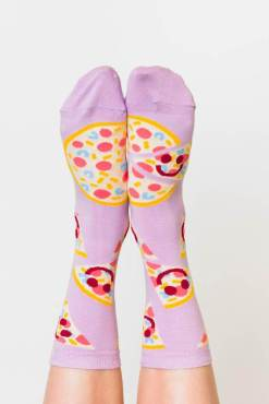 Yellow Owl Workshop - Pizza Happy Face Crew Socks