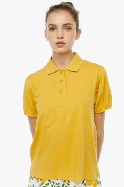 Compañia Fantastica - Yellow Puff Sleeve Polo Shirt