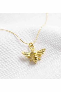 Lisa Angel - Tiny Matte Gold Bee Necklace