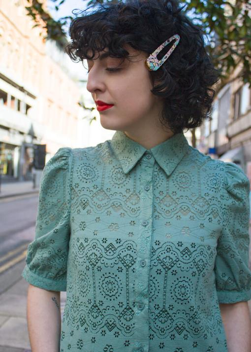 Daphnea - Sage Green Broderie Anglaise Blouse