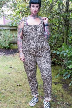 Run & Fly - Unisex Twill Leopard Print Dungarees
