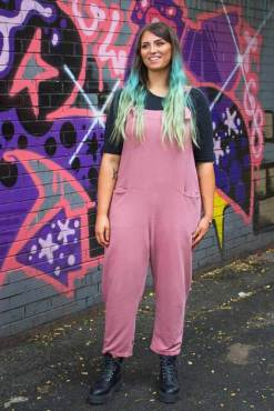 Thunder Egg - Dusky Pink Jersey Dungarees