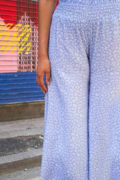Thunder Egg - Powder Blue Leopard Print Palazzo Pants