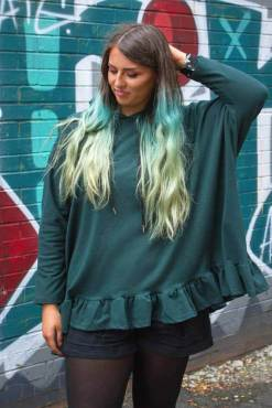 Thunder Egg - Forest Green Frill Hem Oversized Hoodie