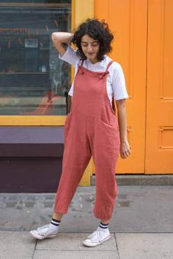 Thunder Egg - Burnt Orange Linen Dungarees