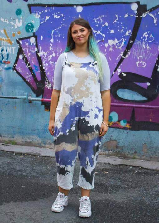 Thunder Egg - Blue & Stone Tie Dye Jersey Dungarees