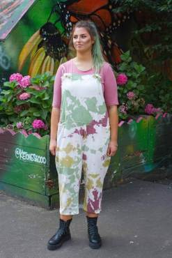 Thunder Egg - Pink & Green Tie Dye Jersey Dungarees