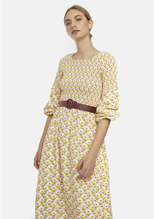 Compañia Fantastica - Pink and Yellow Floral Midi Dress