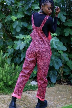 Run & Fly - Unisex Stretch Twill Pink Leopard Print Dungarees