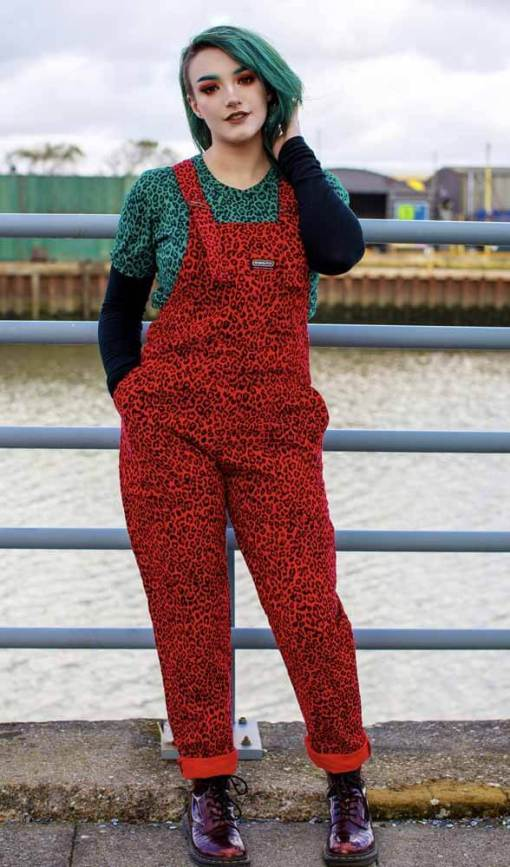 Run & Fly - Unisex Corduroy Red Leopard Dungarees