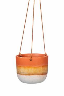 Sass & Belle - Dip Glaze Rust Brown Hanging Planter