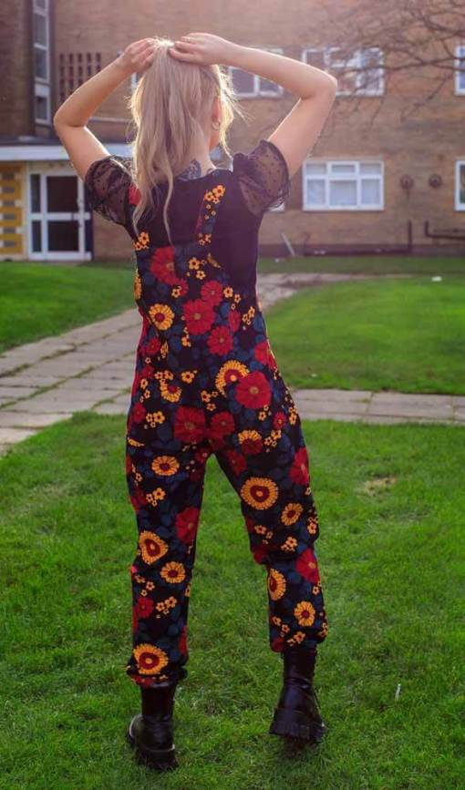 Run & Fly - Unisex Twill Oversized Retro Floral Dungarees