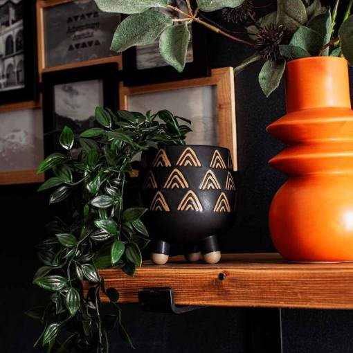 Sass & Belle - Wax Triangles Black Leggy Planter
