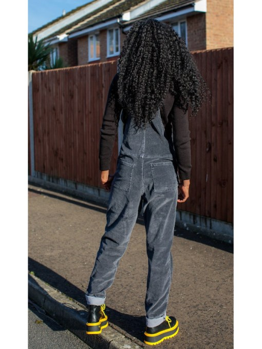 Run & Fly - Unisex Charcoal Stretch Corduroy Dungarees