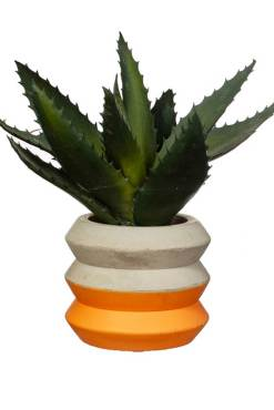 Sass & Belle - Colour Block Cement Mini Planter in Orange