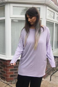 Thunder Egg - Lilac Stripe Oversized Top