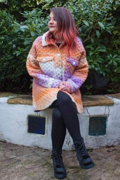 Thunder Egg - Lilac & Orange Crochet Shacket