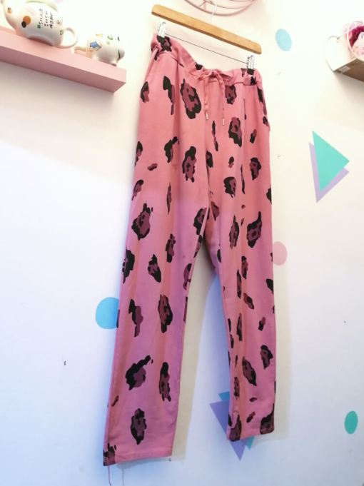 aThunder Egg - Pink Leopard Stretch Joggers