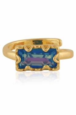 Big Metal London - Rebecca Baguette Gem Adjustable Ring in Gold & Violet
