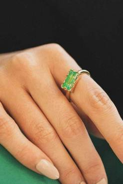 Big Metal London - Rebecca Baguette Gem Adjustable Ring in Gold & Green