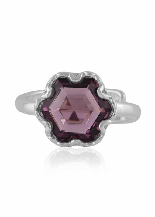 Big Metal London - Fiona Hexagon Gem Adjustable Ring in Silver