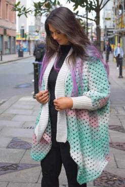 Thunder Egg - Mint & Pink Crochet Cardigan