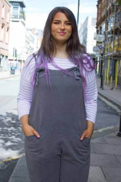 Thunder Egg - Charcoal Grey Jersey Dungarees