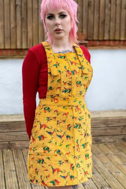 Run & Fly - Corduroy Gold Rainbow Dinosaur Pinafore