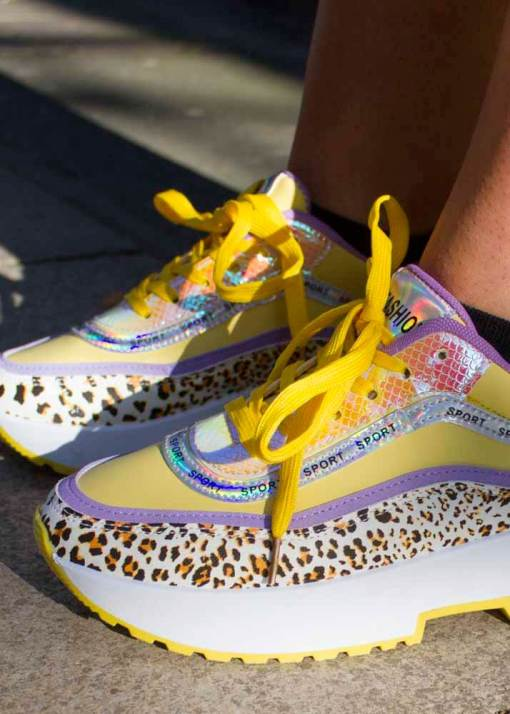 Thunder Egg - Iridescent Yellow & Lilac Leopard Trainers