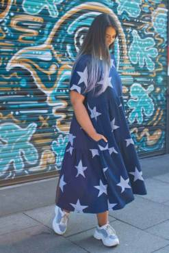 Thunder Egg - Navy Star Midi Smock Dress
