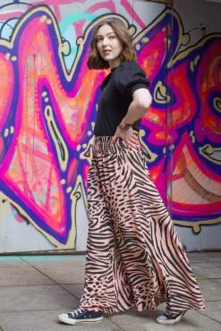 Thunder Egg - Blush Pink Animal Print Palazzo Pants