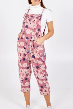 Thunder Egg - Pink Flower Jersey Dungarees