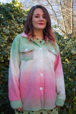 Thunder Egg - Pink & Green Felted Shacket