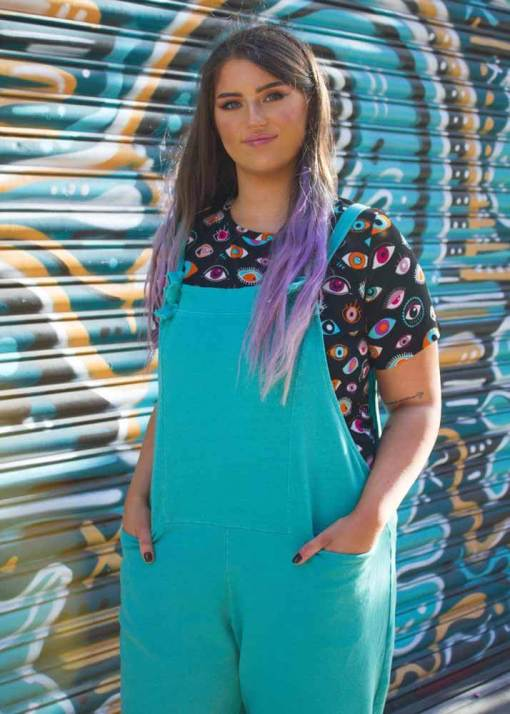 Thunder Egg - Turquoise Jersey Dungarees