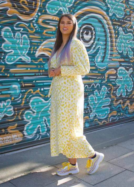 Glamorous - Yellow Leopard Print Midi Wrap Dress