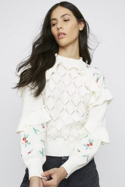 Glamorous - Ivory Knitted Frill Sleeve Jumper